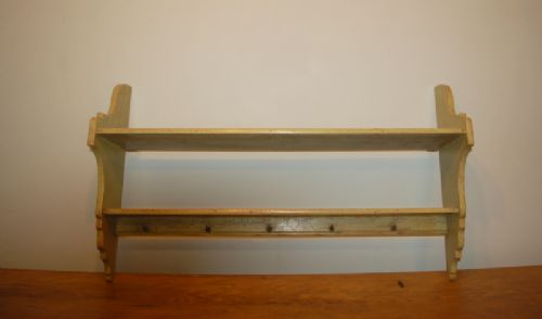 antique pine wall hung storage shelf in original paint