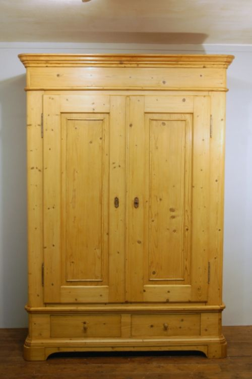 antique northern european pine double wardrobe armoire 1870