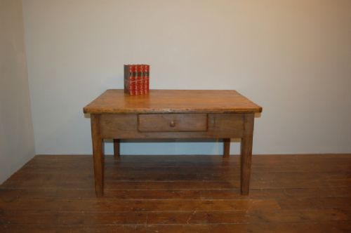 antique french country fruit wood low table 1850