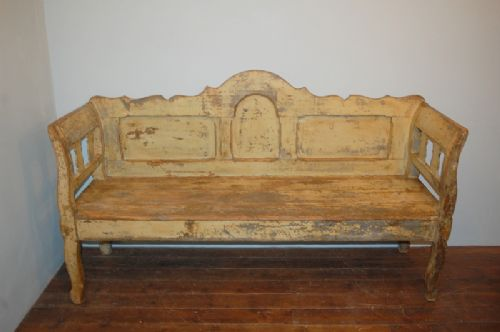 antique pine rustic settle bench in distressed original paint 1860