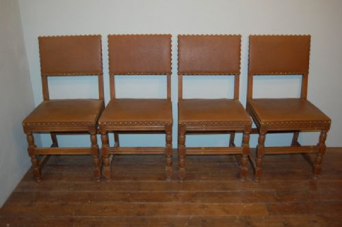 set of four french dining chairs oak and leatherette 1900