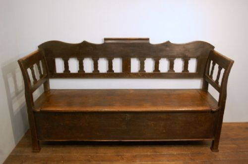 antique farmhouse pine box settle bench with storage in original first paint 1860