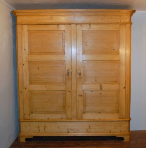 antique large early pine wardrobe hall robe lounge armoire 1850 shelves or and hanging