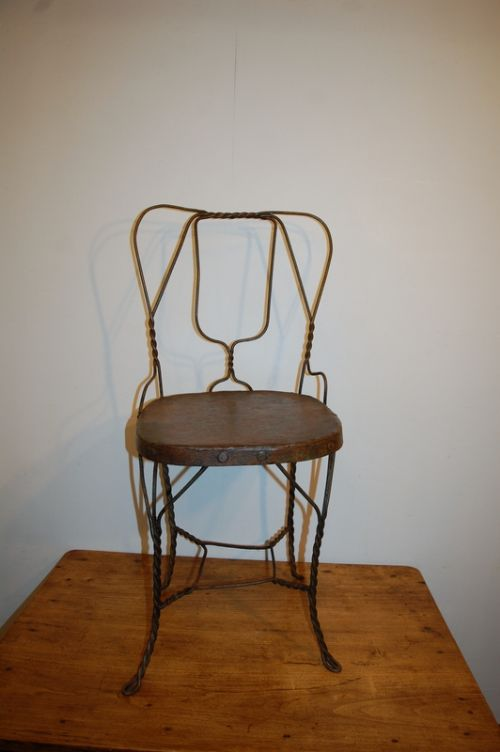 antique iron work school chair 1900