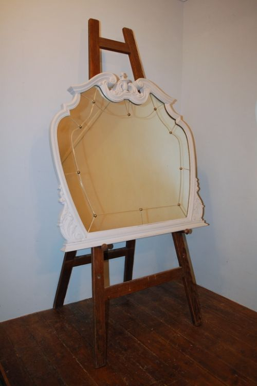 antique french oak louis xv revival overmantle mirror painted 1900