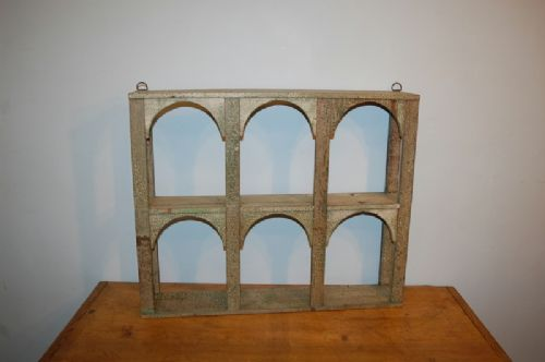 antique small wall book kitchen shelf in original crackle paint 1850