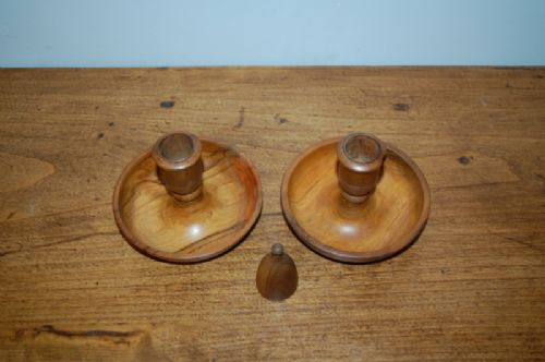 antique olive wood travelling 'brighton bun' candlesticks mid 19th century