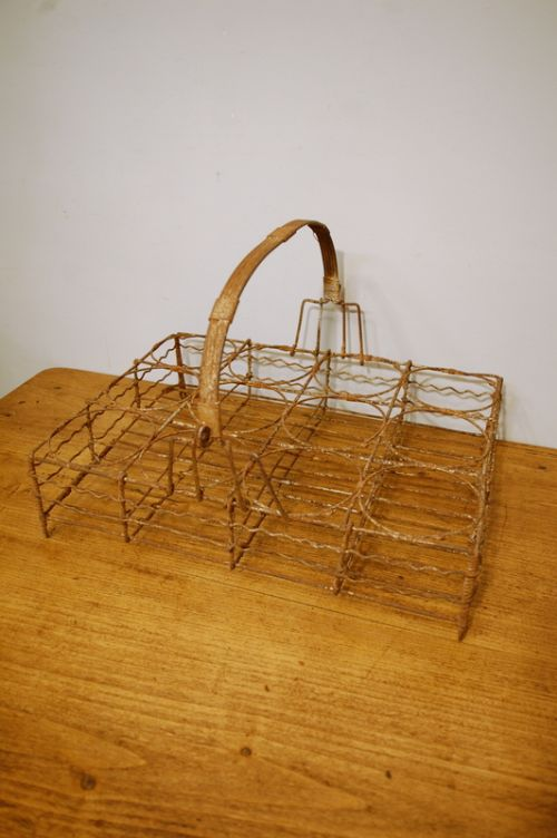 antique french wire wine bottle carrier 1920