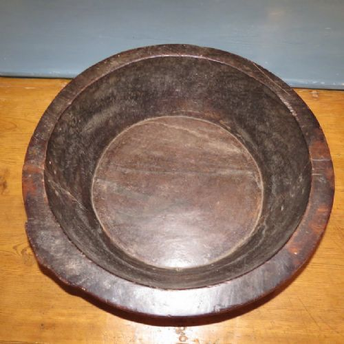antique large primitive hand dug out solid wooden bowl