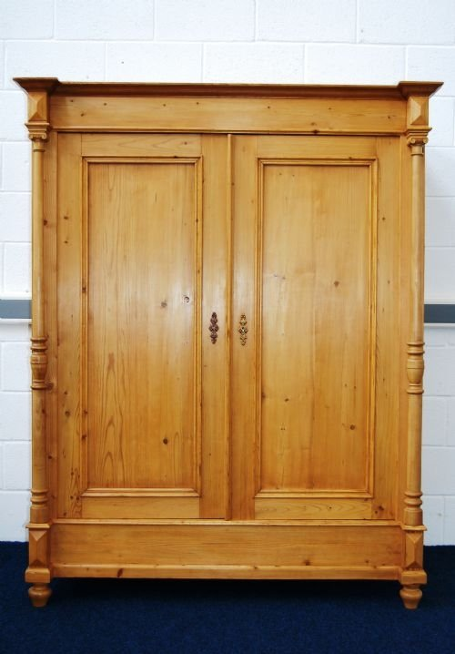 antique pine double wardrobe with columns