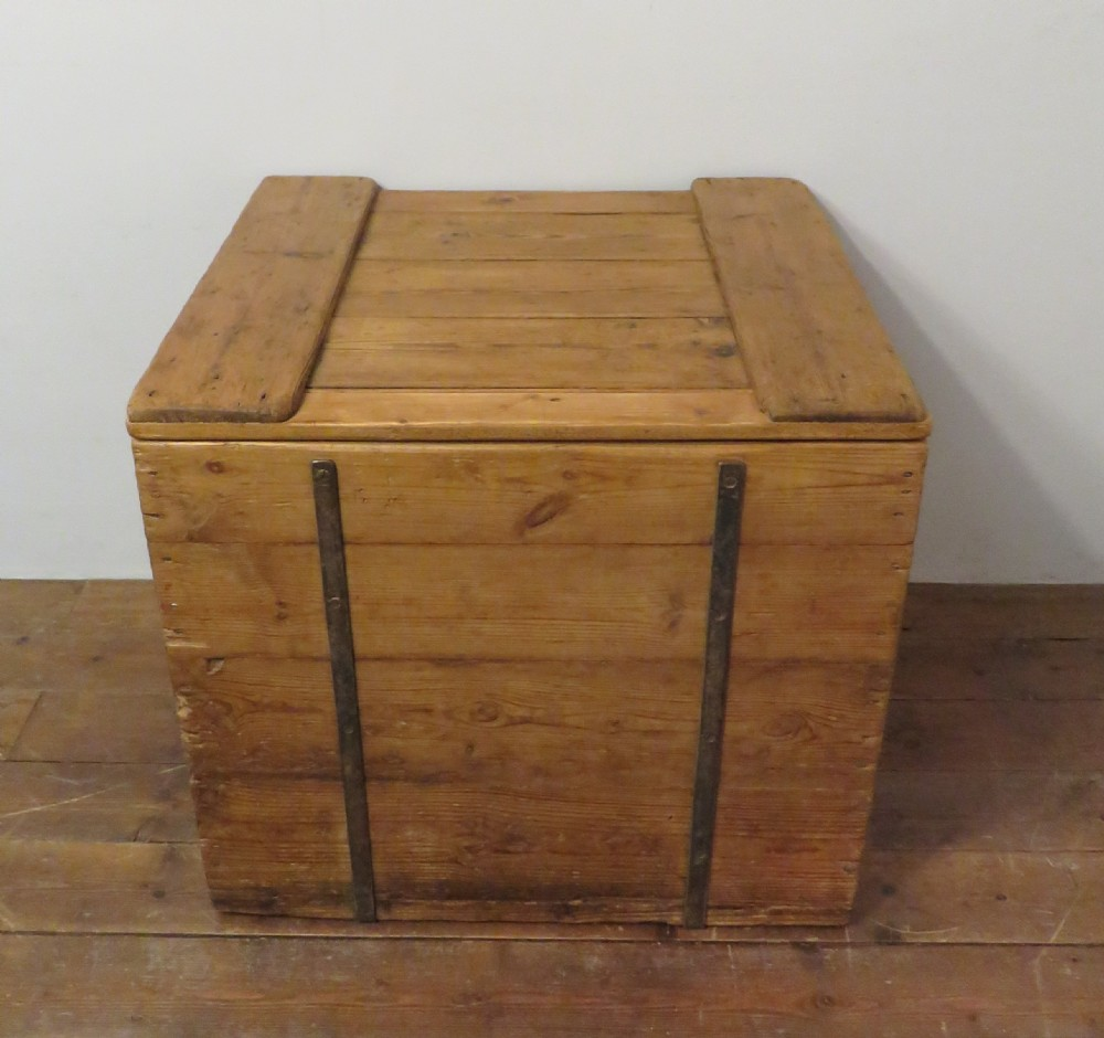 antique victorian square pine industrial storage chest 1890