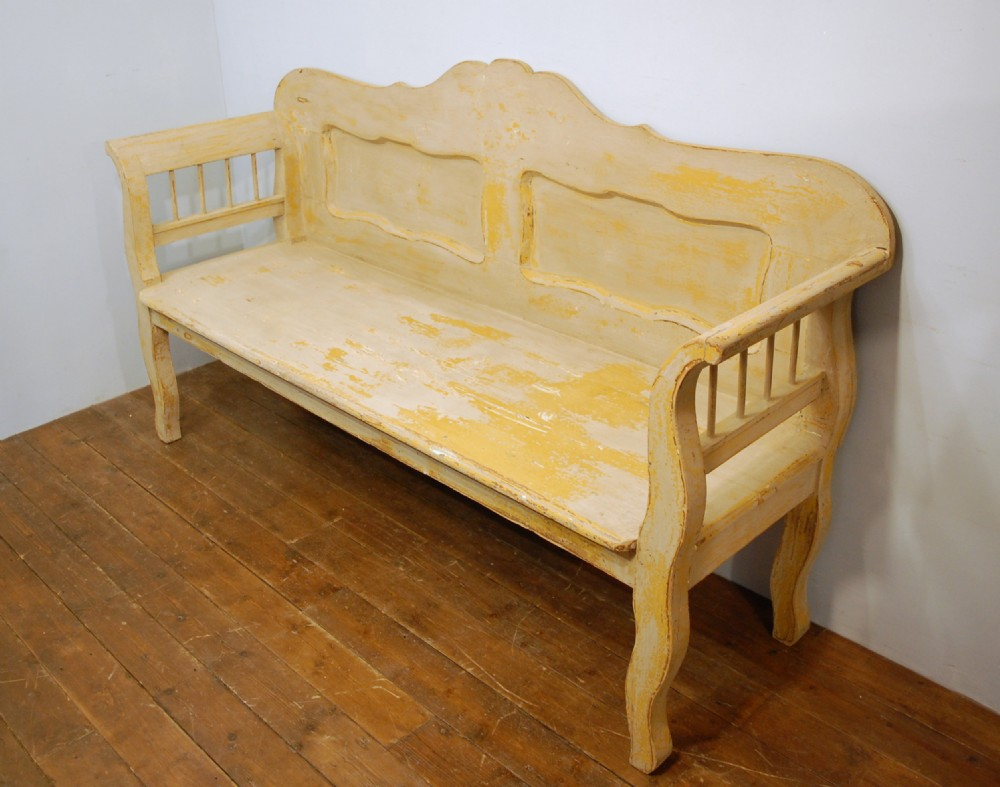 antique painted pine settle bench 1870 old worn mustard paint