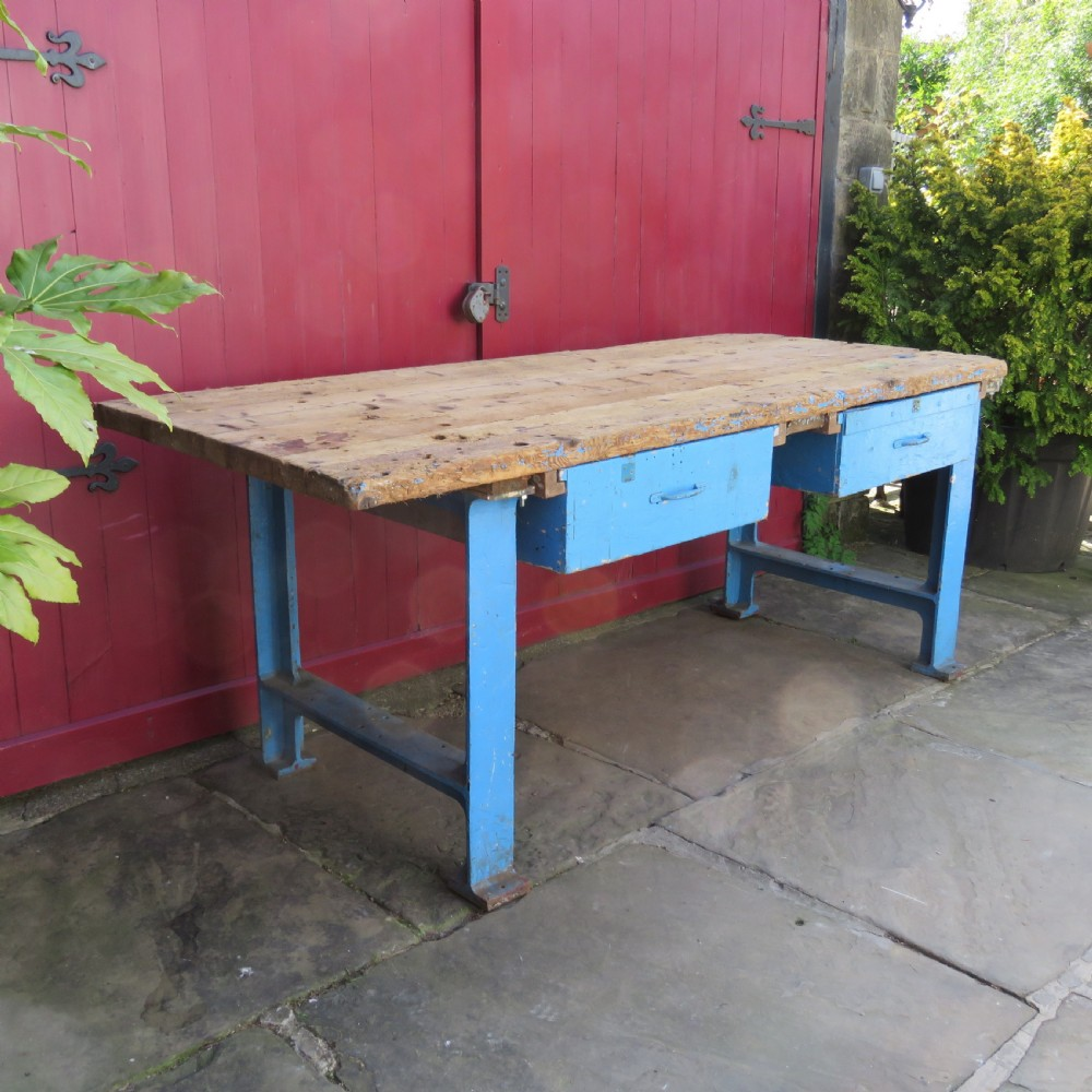 vintage industrial cast iron and pine work island table dismantles 1950