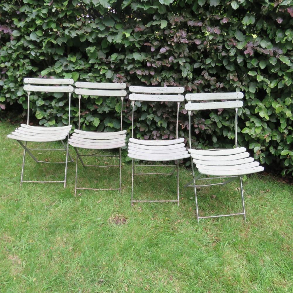 antique set of four french folding garden chairs 1930