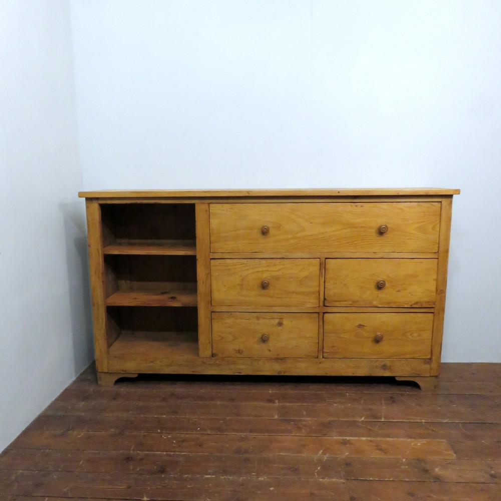 antique pine slim console shop fitting cupboard 1900