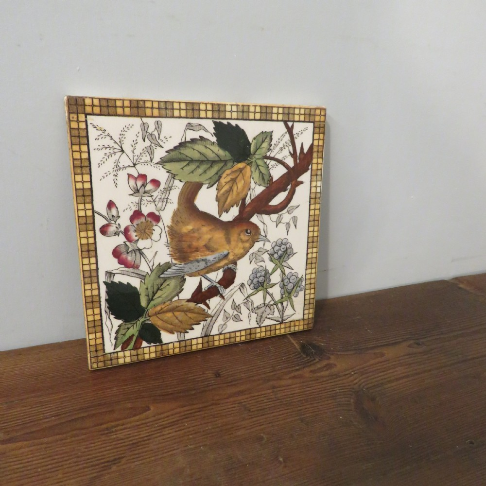 antique set of six victorian glazed decorative tiles depicting a wren in botanical surroundings 1890