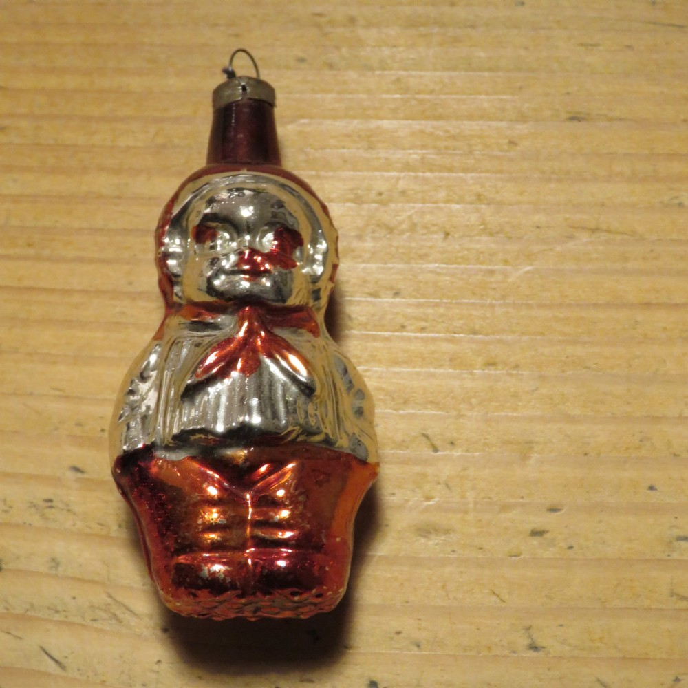 antique hand blown mercury glass christmas tree decoration 'baby christmas' 1940