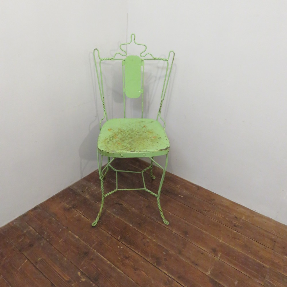 antique wire work school chair in original paint