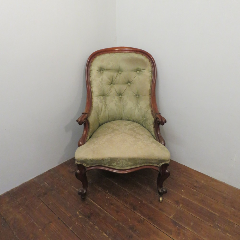 antique early victorian walnut button back upholstered salon chair original condition and material 1860